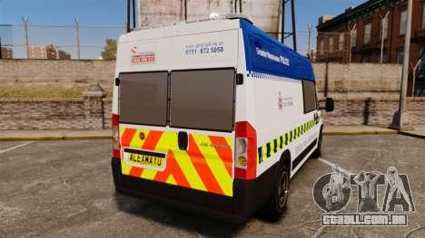 Fiat Ducato Manchester Police [ELS] para GTA 4 traseira esquerda vista