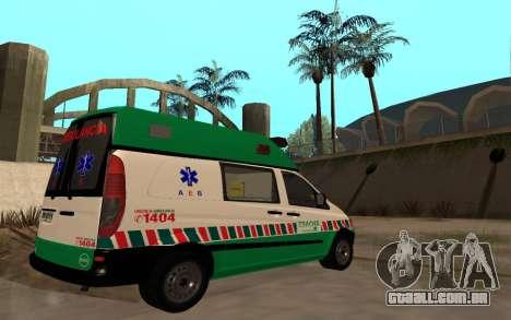 Mercedes-Benz Vito Ambulancia ACHS 2012 para GTA San Andreas vista traseira