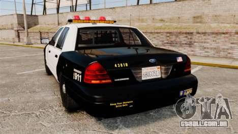 Ford Crown Victoria 1999 LAPD & GTA V LSPD para GTA 4 traseira esquerda vista