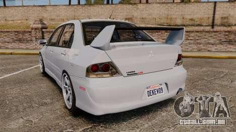 Mitsubishi Lancer Unmarked Police [ELS] para GTA 4 traseira esquerda vista