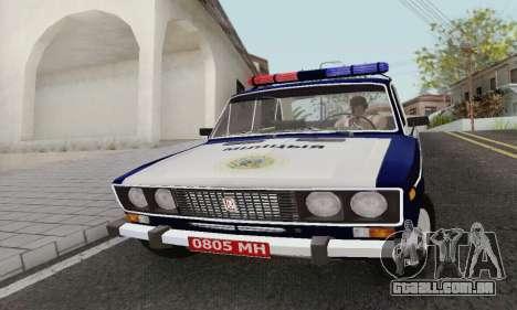 Polícia de 2106 VAZ para GTA San Andreas esquerda vista