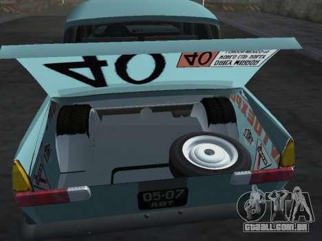 Rally Moskvich 412 para GTA San Andreas vista traseira