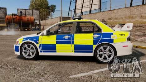 Mitsubishi Lancer Evolution IX Police [ELS] para GTA 4 esquerda vista