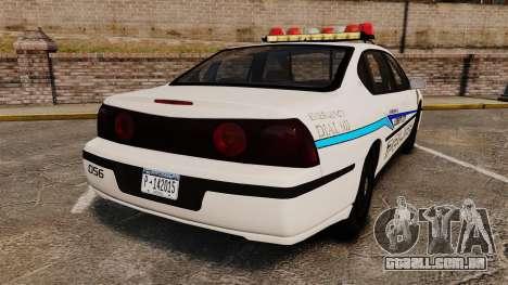 Chevrolet Impala 2003 LCPD para GTA 4 traseira esquerda vista