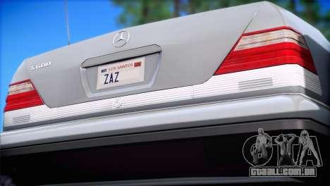 Mercedes-Benz S600 V12 V1.2 para GTA San Andreas esquerda vista