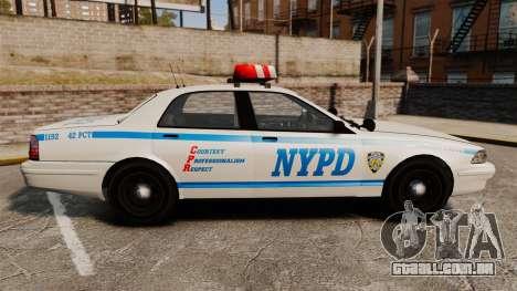 GTA V Police Vapid Cruiser NYPD para GTA 4 esquerda vista