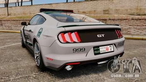 Ford Mustang GT 2015 Police para GTA 4 traseira esquerda vista