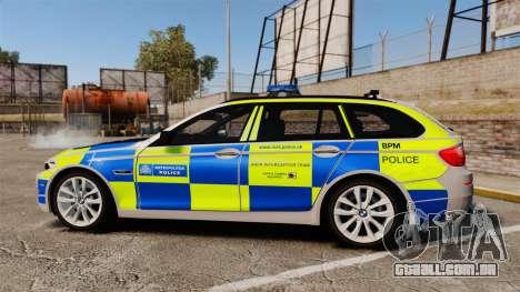 BMW 550d Touring Metropolitan Police [ELS] para GTA 4 esquerda vista