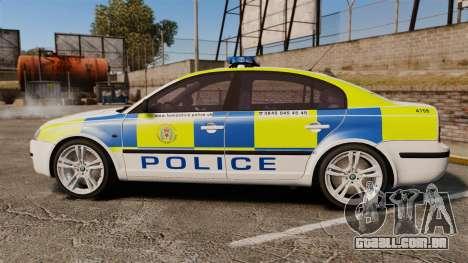 Skoda Superb 2006 Police [ELS] Whelen Edge para GTA 4 esquerda vista