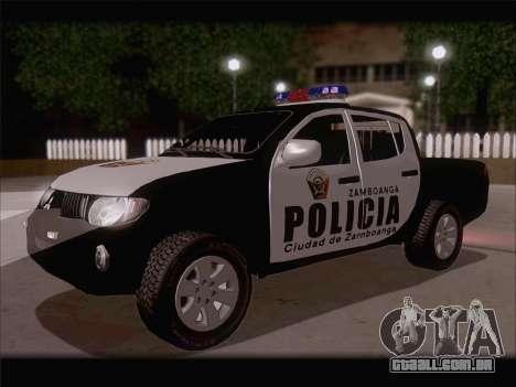 Mitsubishi L200 POLICIA para GTA San Andreas traseira esquerda vista