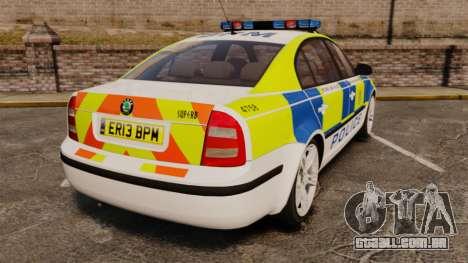 Skoda Superb 2006 Police [ELS] Whelen Edge para GTA 4 traseira esquerda vista