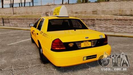 Ford Crown Victoria 1999 NYC Taxi v1.1 para GTA 4 traseira esquerda vista