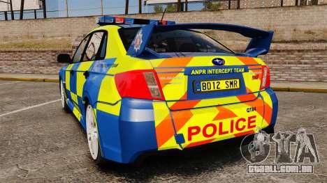 Subaru Impreza WRX STI 2011 Police [ELS] para GTA 4 traseira esquerda vista
