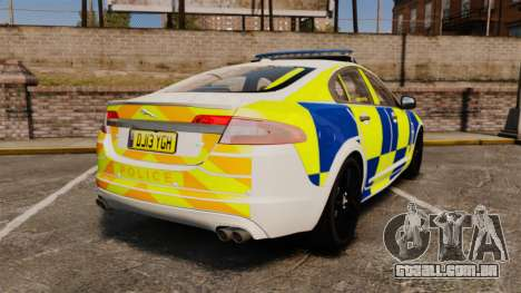 Jaguar XFR 2010 Police Marked [ELS] para GTA 4 traseira esquerda vista