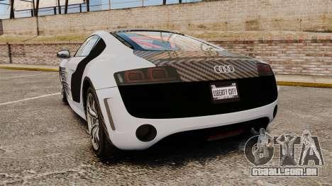 Audi R8 GT Coupe 2011 Drift para GTA 4 traseira esquerda vista