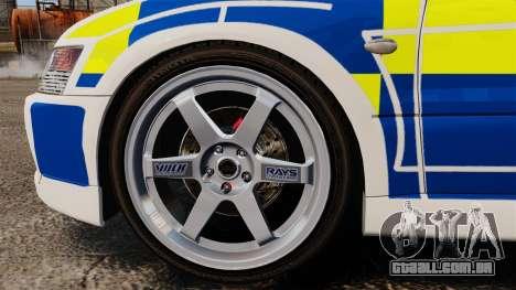 Mitsubishi Lancer Evolution IX Police [ELS] para GTA 4 vista de volta