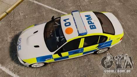 BMW M3 British Police [ELS] para GTA 4 vista direita