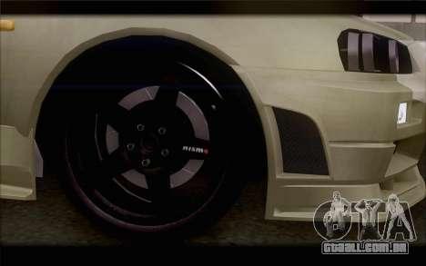 Nissan Skyline R34 Z-Tune para GTA San Andreas traseira esquerda vista