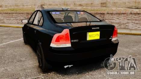 Volvo S60R Unmarked Police [ELS] para GTA 4 traseira esquerda vista