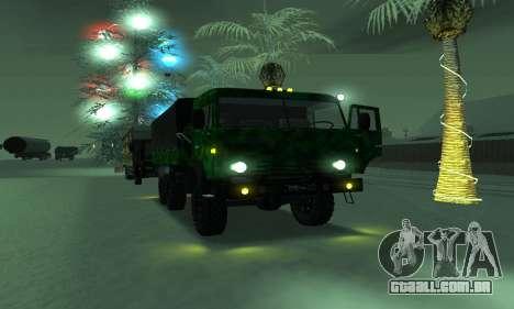 Exército KAMAZ 4310 para GTA San Andreas vista traseira