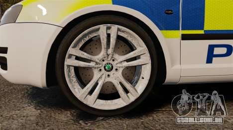 Skoda Superb 2006 Police [ELS] Whelen Edge para GTA 4 vista de volta