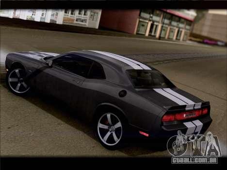 Dodge Challenger SRT8 2012 HEMI para GTA San Andreas traseira esquerda vista