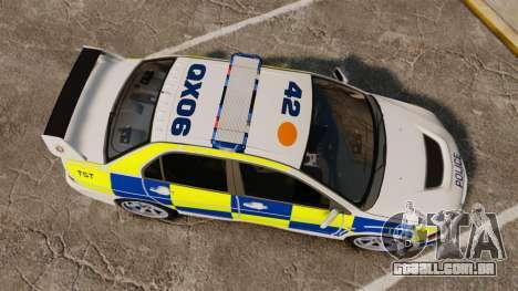 Mitsubishi Lancer Evolution IX Police [ELS] para GTA 4 vista direita