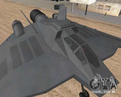 StarGate F-302 para GTA San Andreas traseira esquerda vista