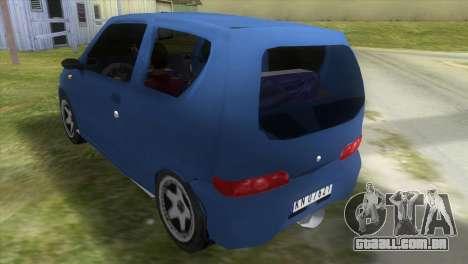 Fiat Seicento para GTA Vice City vista traseira esquerda