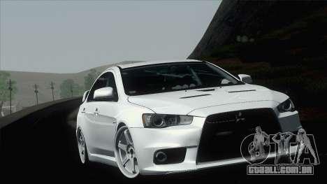 Mitsubishi Lancer X Evolution para GTA San Andreas vista interior