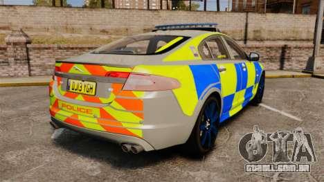 Jaguar XFR 2010 West Midlands Police [ELS] para GTA 4 traseira esquerda vista