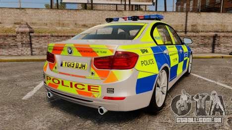 BMW F30 328i Metropolitan Police [ELS] para GTA 4 traseira esquerda vista