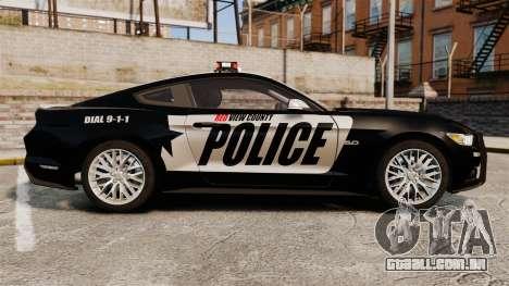 Ford Mustang GT 2015 Police para GTA 4 esquerda vista