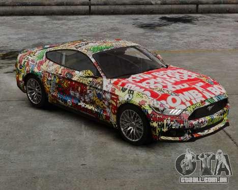 Ford Mustang GT 2015 Sticker Bombed para GTA 4 traseira esquerda vista