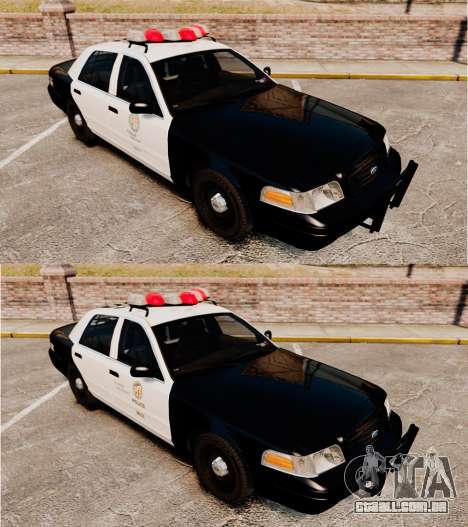 Ford Crown Victoria 1999 LAPD & GTA V LSPD para GTA 4 vista interior