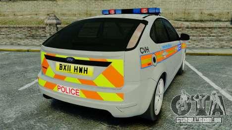 Ford Focus Metropolitan Police [ELS] para GTA 4 traseira esquerda vista