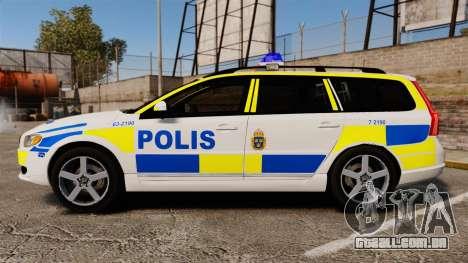 Volvo V70 II Swedish Police [ELS] para GTA 4 esquerda vista