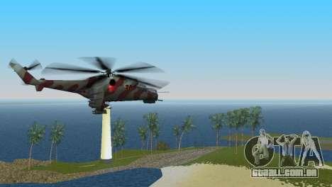 Mi-24 Krokodil para GTA Vice City vista traseira esquerda