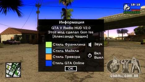 GTA 5 Radio HUD para GTA San Andreas segunda tela