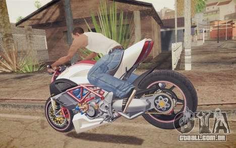 Ducati Diavel Carbon 2011 para GTA San Andreas traseira esquerda vista