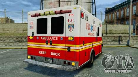 Brute FDLC Ambulance [ELS] para GTA 4 traseira esquerda vista