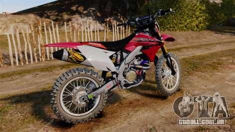 Kawasaki KX250F (Honda) para GTA 4 esquerda vista
