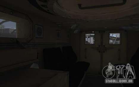 MRAP de BF4 para GTA San Andreas vista interior