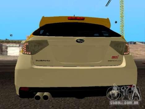 Subaru Impreza STi para GTA San Andreas traseira esquerda vista