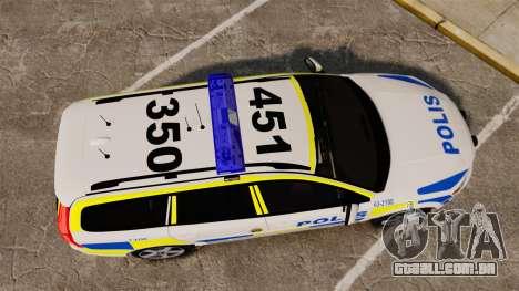 Volvo V70 II Swedish Police [ELS] para GTA 4 vista direita