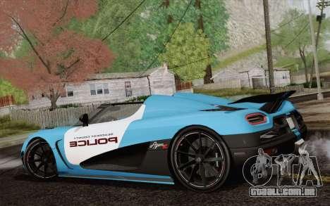 Koenigsegg Agera R para GTA San Andreas vista traseira