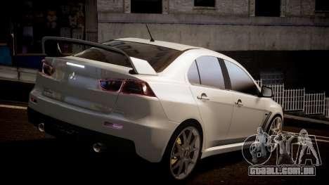 Mitsubishi Lancer Evolution X 2009 v1.3 para GTA 4 esquerda vista