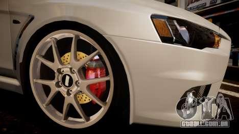 Mitsubishi Lancer Evolution X 2009 v1.3 para GTA 4 traseira esquerda vista