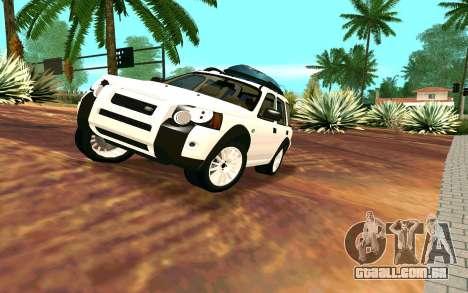 Land Rover Freelander para GTA San Andreas vista traseira