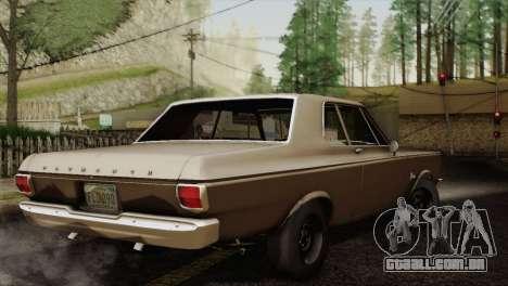 Plymouth Belvedere 2-door Sedan 1965 para GTA San Andreas vista traseira